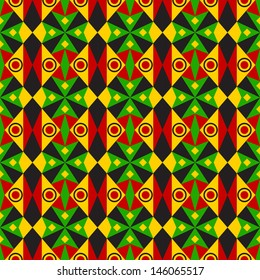 Red, Green and Yellow Tribal Pattern