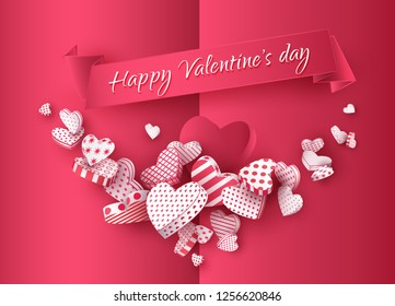 Red greeting card with a garland of 3d hearts, on a ribbon the text Happy Valentine's Day. Festive banner for the day of all lovers. Vector illustration