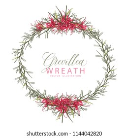 Red Grevillea Wreath Vector