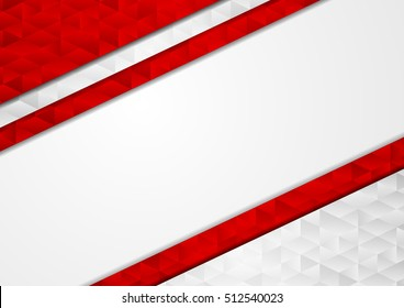 Red grey abstract tech low poly background. Triangles polygonal shapes vector design