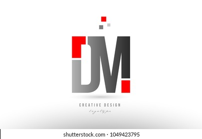 red grey alphabet letter dm d m logo combination design suitable for a company or business