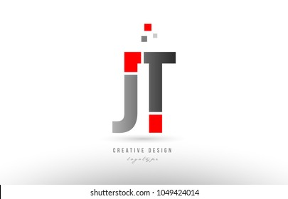 red grey alphabet letter jt j t logo combination design suitable for a company or business