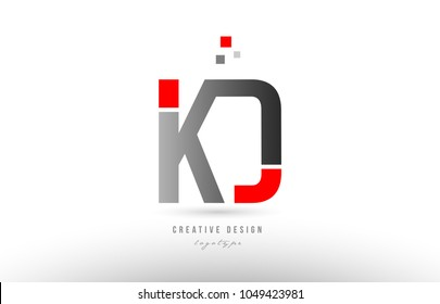 red grey alphabet letter kd k d logo combination design suitable for a company or business