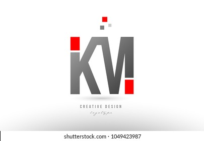red grey alphabet letter km k m logo combination design suitable for a company or business