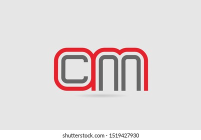 red grey alphabet letter logo combination CM C M for icon design. Suitable as a logotype for a company or business