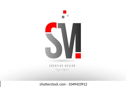 red grey alphabet letter sm s m logo combination design suitable for a company or business