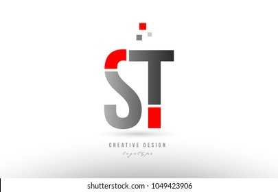 red grey alphabet letter st s t logo combination design suitable for a company or business