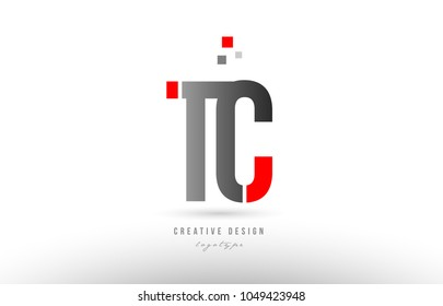red grey alphabet letter tc t c logo combination design suitable for a company or business