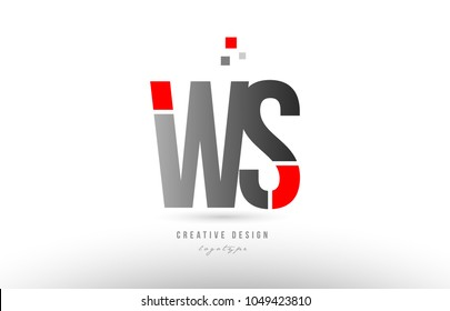 red grey alphabet letter ws w s logo combination design suitable for a company or business