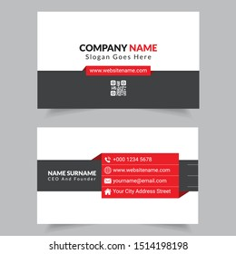 Red And Grey Color Corporate Business Card Design Template For Commercial Use