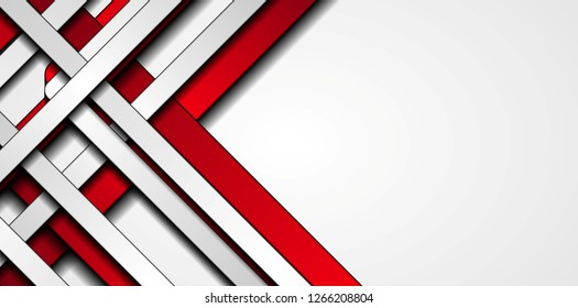Red and grey contrast stripes abstract tech background. Vector illustration