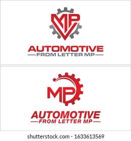 Red grey logo initial MP gear wheel circle line vector combination element design suitable for automotive repair shop service Motorsports industrial workshop