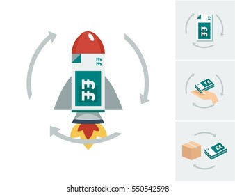 A red and grey rocket ship with a stack of teal green british pound sterling bank notes inside a circle of arrows vector illustration with alternative icons