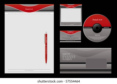 Red and grey template vector background - blank, card, cd, note-paper, envelope, pen