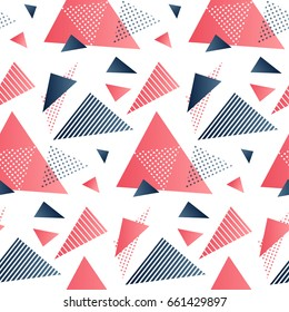 Red and grey triangles. Creative seamless pattern