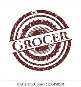 Red Grocer distress rubber stamp with grunge texture