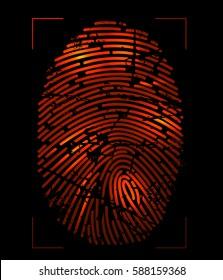 Red grunge finger print