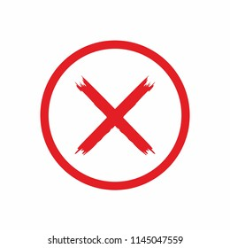 Red grunge letter X mark, hand drawn. Cross sign. Vector