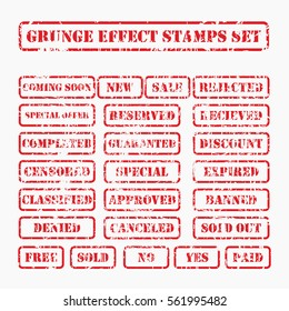 red Grunge post Stamps Collection, Circles. Banners, Insignias , Logos, Icons, Labels and Badges Set . vector distress textures.blank shapes.