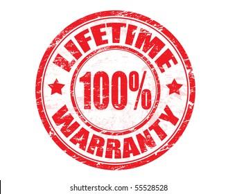 Red grunge rubber ink stamp: lifetime warranty 100%