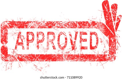 Red grunge rubber stamp APPROVED with rectangular OK sign vector illustration, isolated on white background