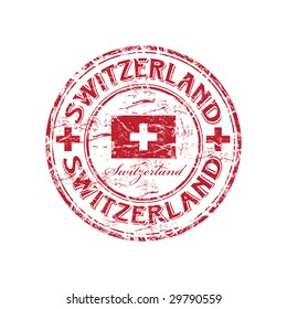 Red grunge rubber stamp with the flag of Switzerland