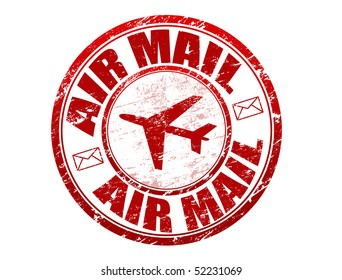 Red grunge rubber stamp with plane shape and and the text  air mail written inside
