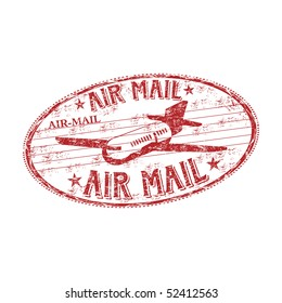 Red grunge rubber stamp with plane symbol and the text air mail written inside the stamp