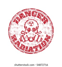 Red grunge rubber stamp with skull wearing a gas mask and the radiation symbol on the top of his head. Danger radiation grunge rubber stamp