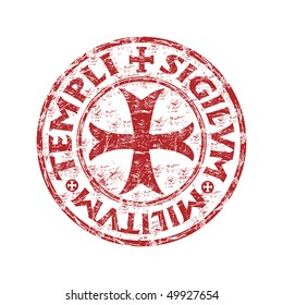 Red grunge rubber stamp with templar cross and the text templi sigilvm militvm written  inside the stamp