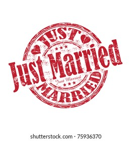 Red grunge rubber stamp with the text just married written inside the stamp