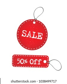 Red grunge sale and discount sticker