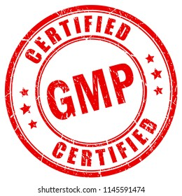 Red grunge stamp gmp certified on white background