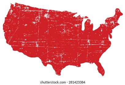 Red grunge USA map