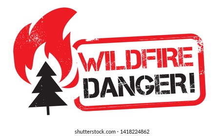 red grunge WILDFIRE DANGER square rubber seal stamp on white background