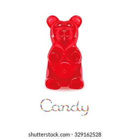 Red gummy bear candy isolated on white background