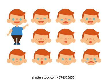Red Hair Boy Feelings Set Vector