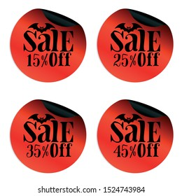 Red Halloween sale stickers set with bat 15, 25, 35, 45 percent off.Vector illustration