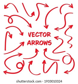 Red hand drawn arrows isolated on white background. Doodle arrow, zigzag and round pointers. Handmade sketches of direction symbols. Vector illustration.
