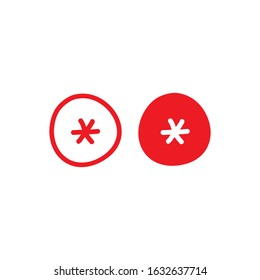 red hand drawn asterisk footnote in circle icon. Flat icon of lopsided footnote isolated on white background. Vector illustration. cartoon star note symbol for more information