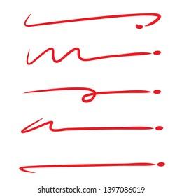 red hand drawn brush line stroke set for underline text