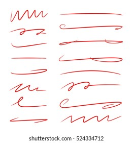 red hand drawn brush lines, doodle line for underline text