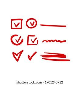 red hand drawn check, mark wrong mark, underline and oval marker. Vector element