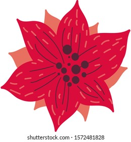 Red hand drawn christmas flower flat vector illustration. New year poinsettia