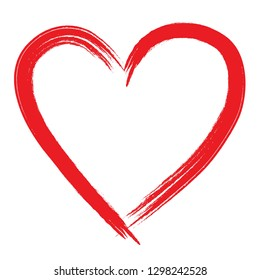 Red hand drawn heart for greeting card, can be used as template for Valentine's day, wedding, etc.
