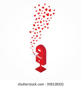 red hand drawn hearts flying out from postbox on white  background