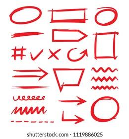 red hand drawn marker elements, check mark, underlines