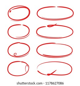 red hand drawn marker elements, blank circles and ovals