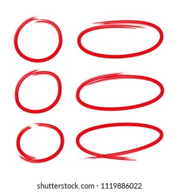 red hand drawn marker ovals and circles