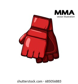 Red hand drawn mma gloves. Flat vector illustration isolated on white